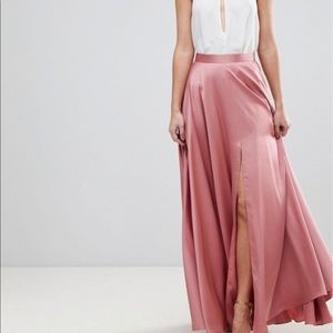 ASOS Pink Satin Maxi Skirt with Center Front Split